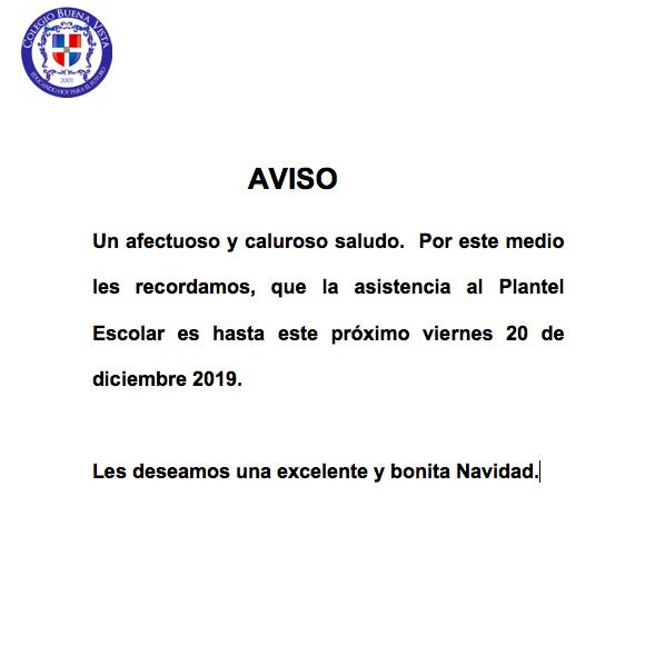 Ultimo Día de Clases Diciembre 2019 y Regreso 2020